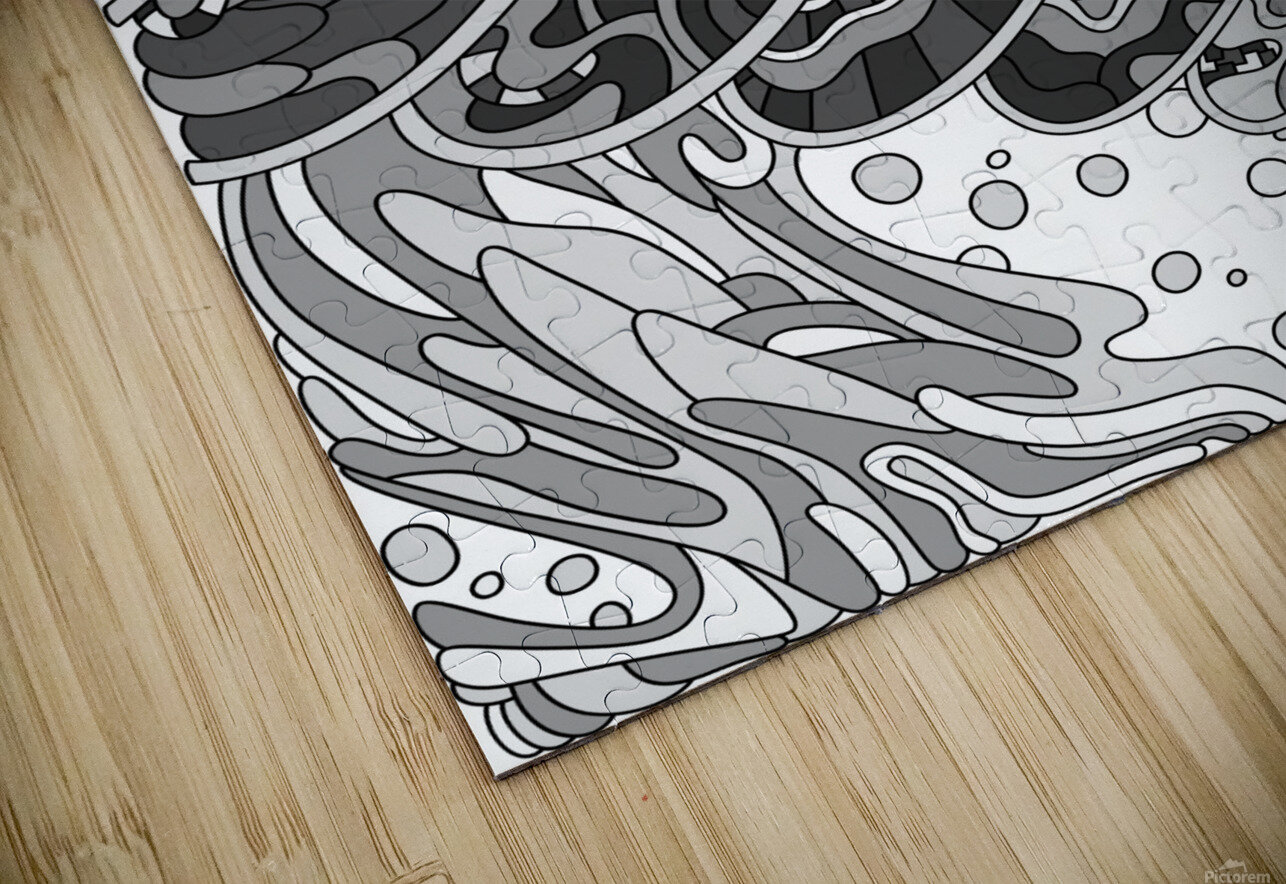 Wandering Abstract Line Art 11: Grayscale HD Sublimation Metal print