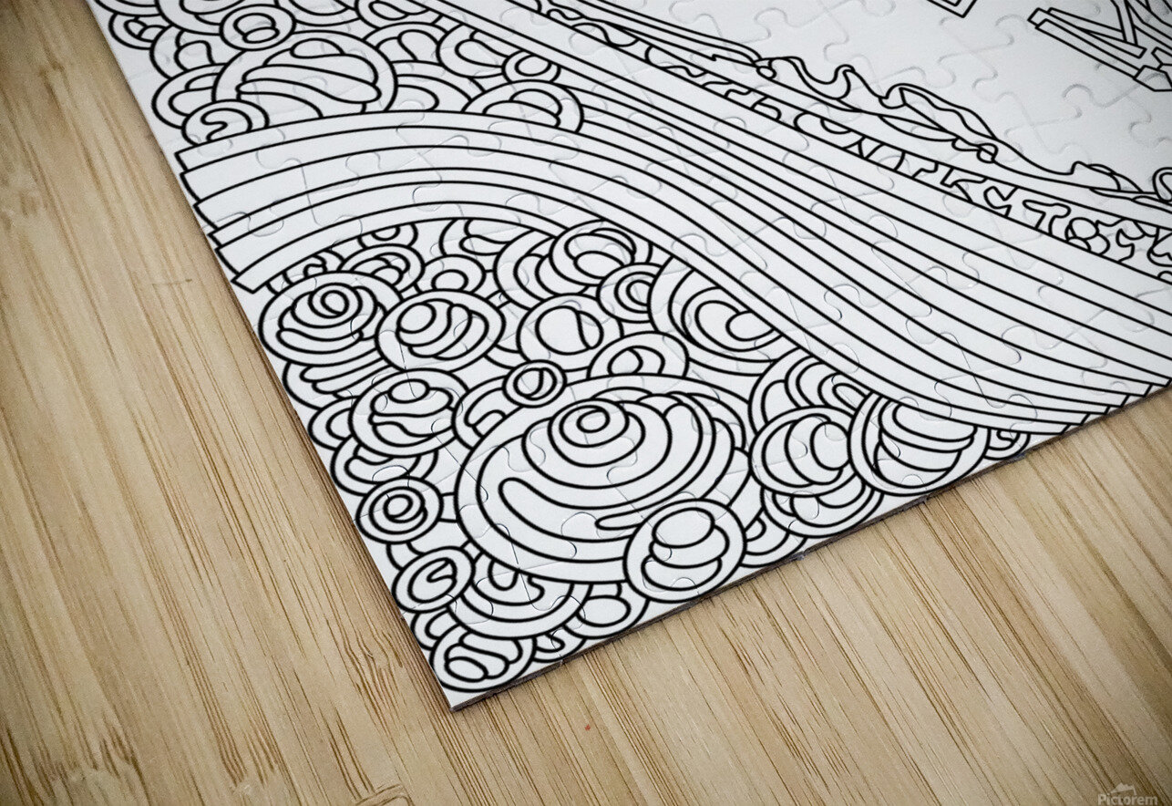 Wandering Abstract Line Art 12: Black & White HD Sublimation Metal print