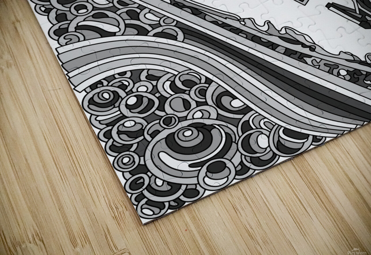 Wandering Abstract Line Art 12: Grayscale HD Sublimation Metal print