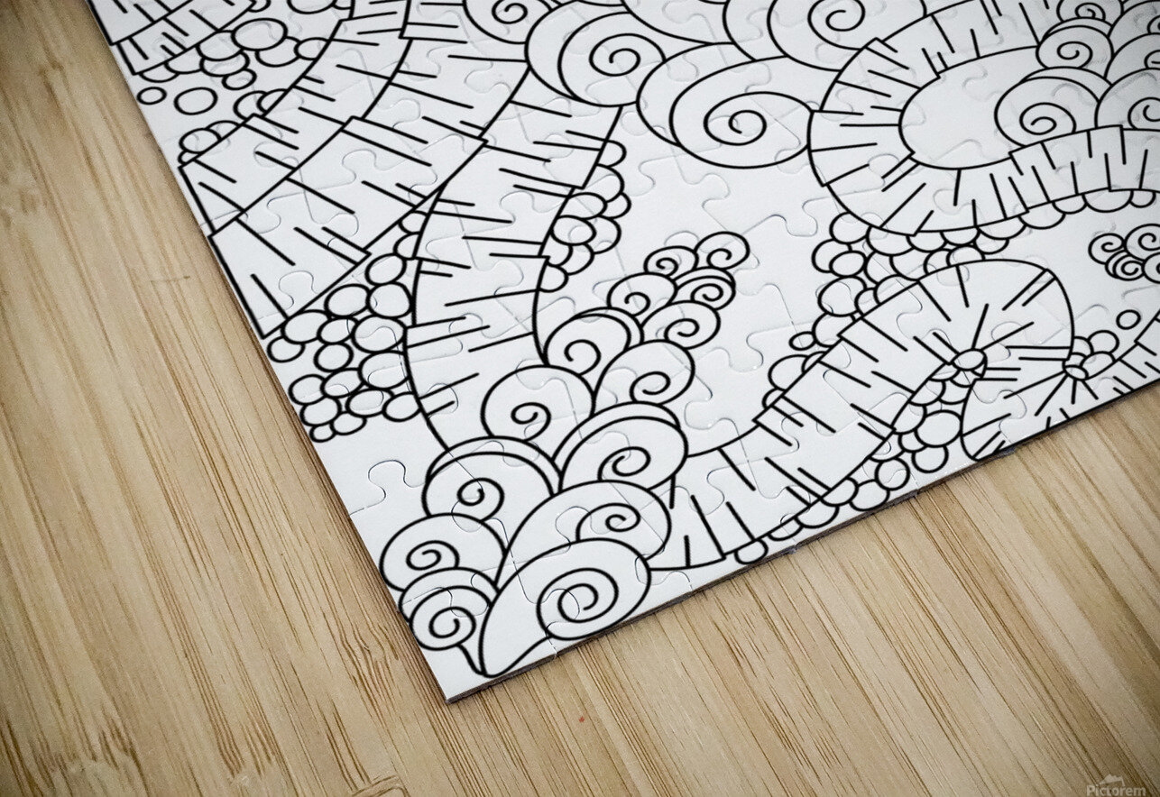 Wandering Abstract Line Art 13: Black & White HD Sublimation Metal print
