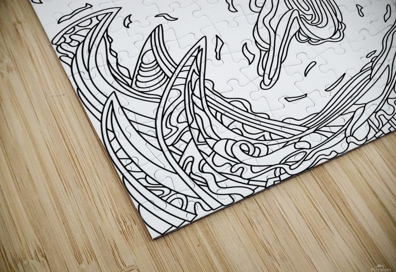 Wandering Abstract Line Art 14: Black & White HD Sublimation Metal print