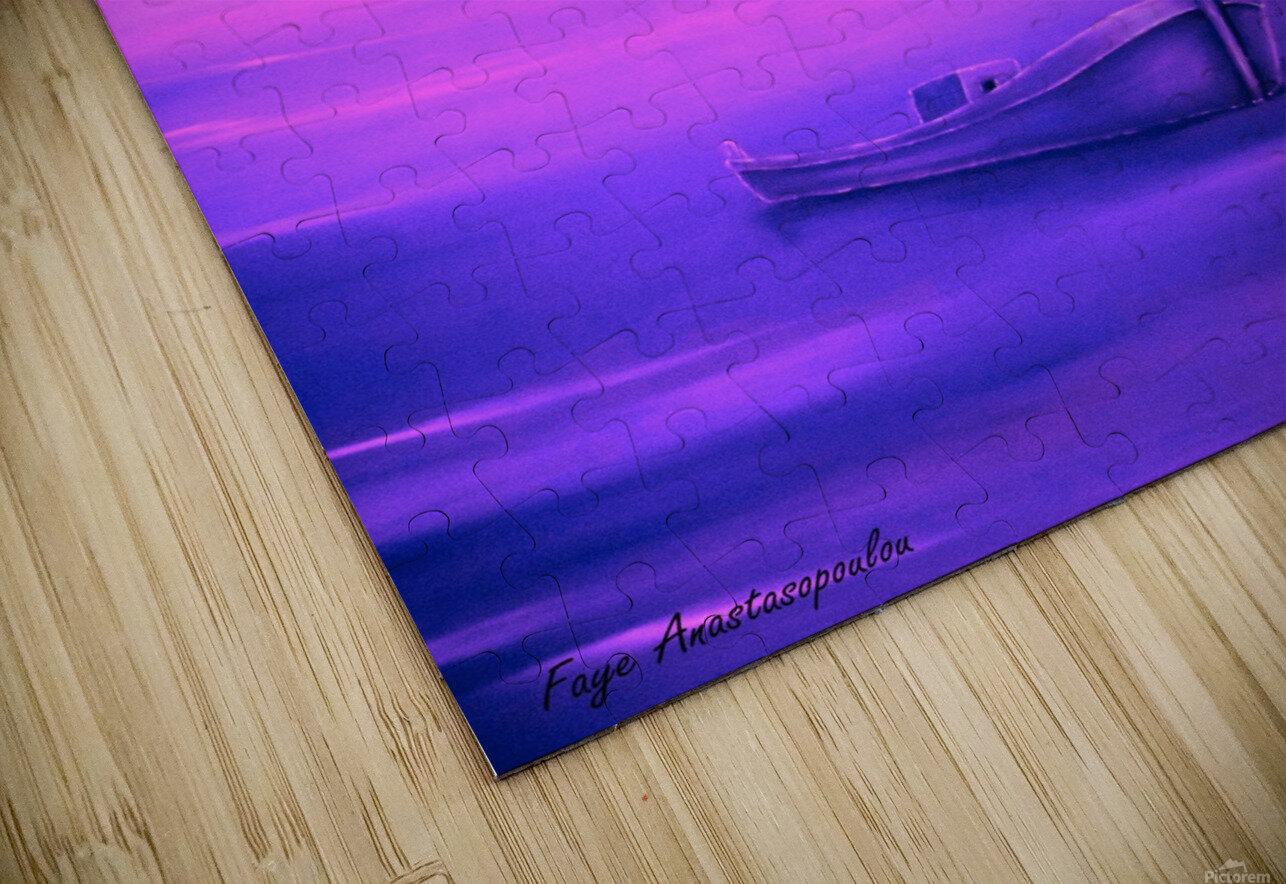 Boat At Sunset HD Sublimation Metal print