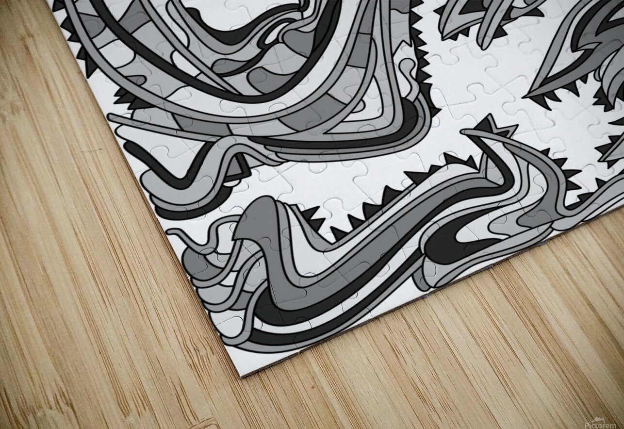 Wandering Abstract Line Art 26: Grayscale HD Sublimation Metal print