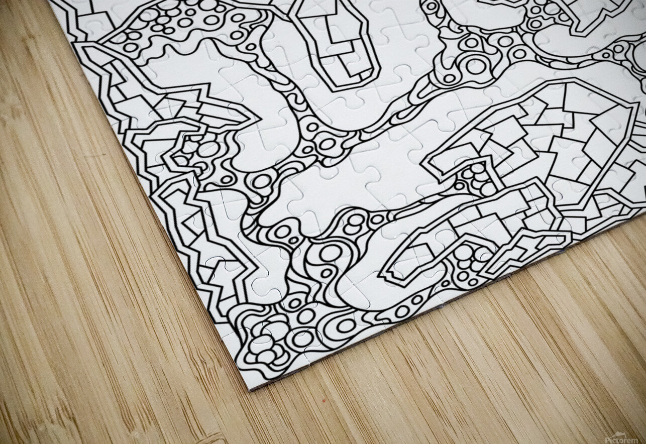 Wandering Abstract Line Art 40: Black & White HD Sublimation Metal print