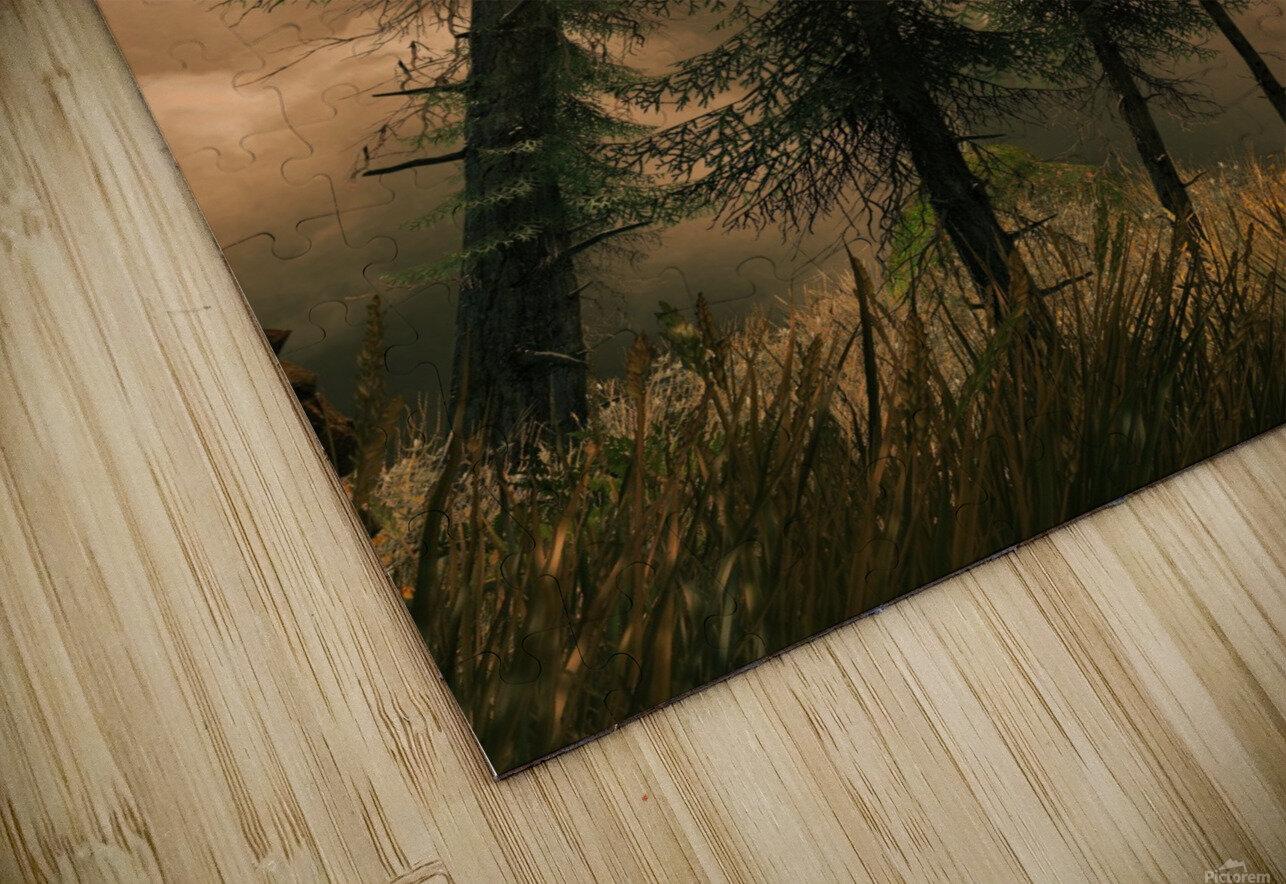 Pine Woods Sunset Fantasy HD Sublimation Metal print