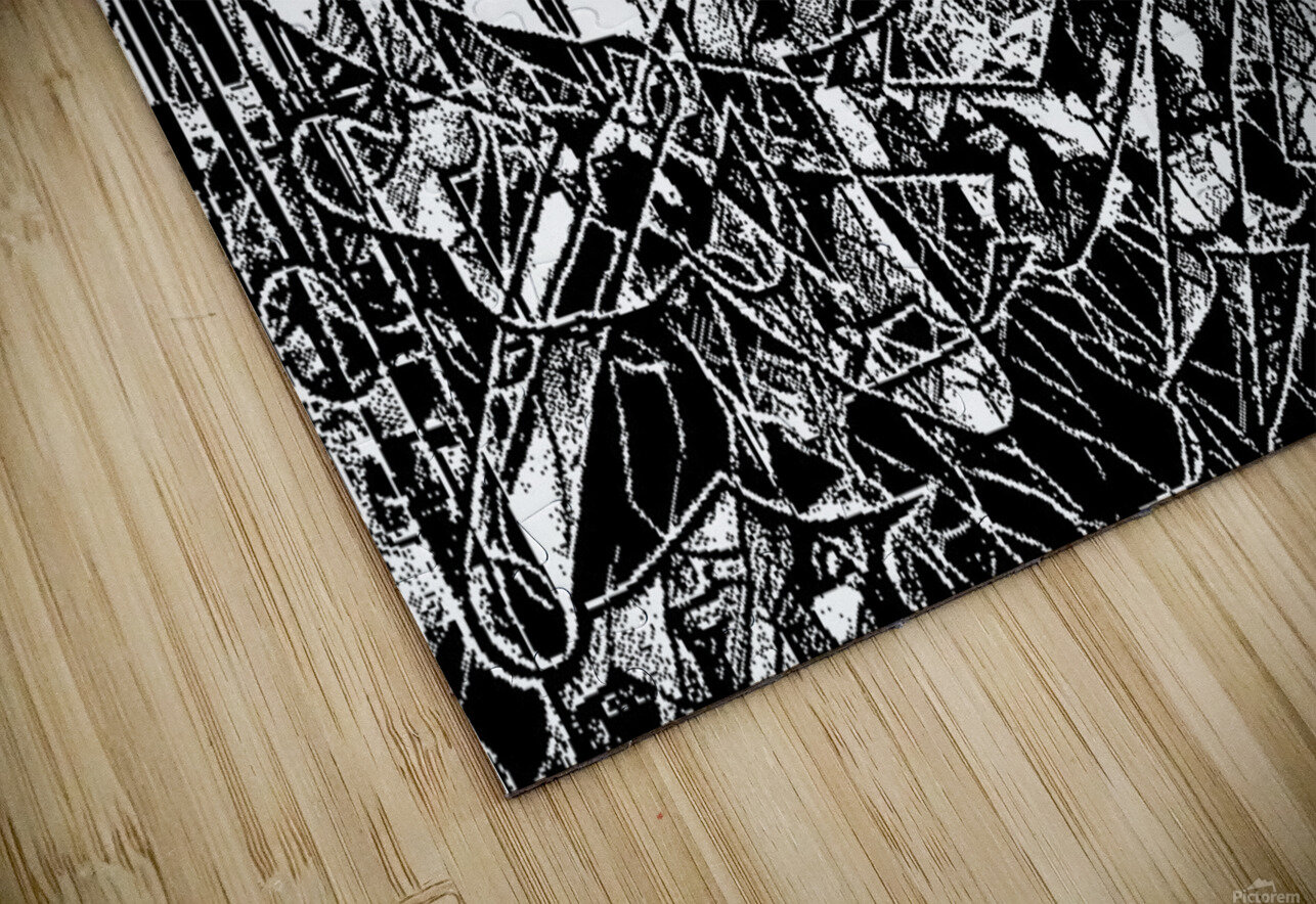 Black & White Art Threshold Texture HD Sublimation Metal print