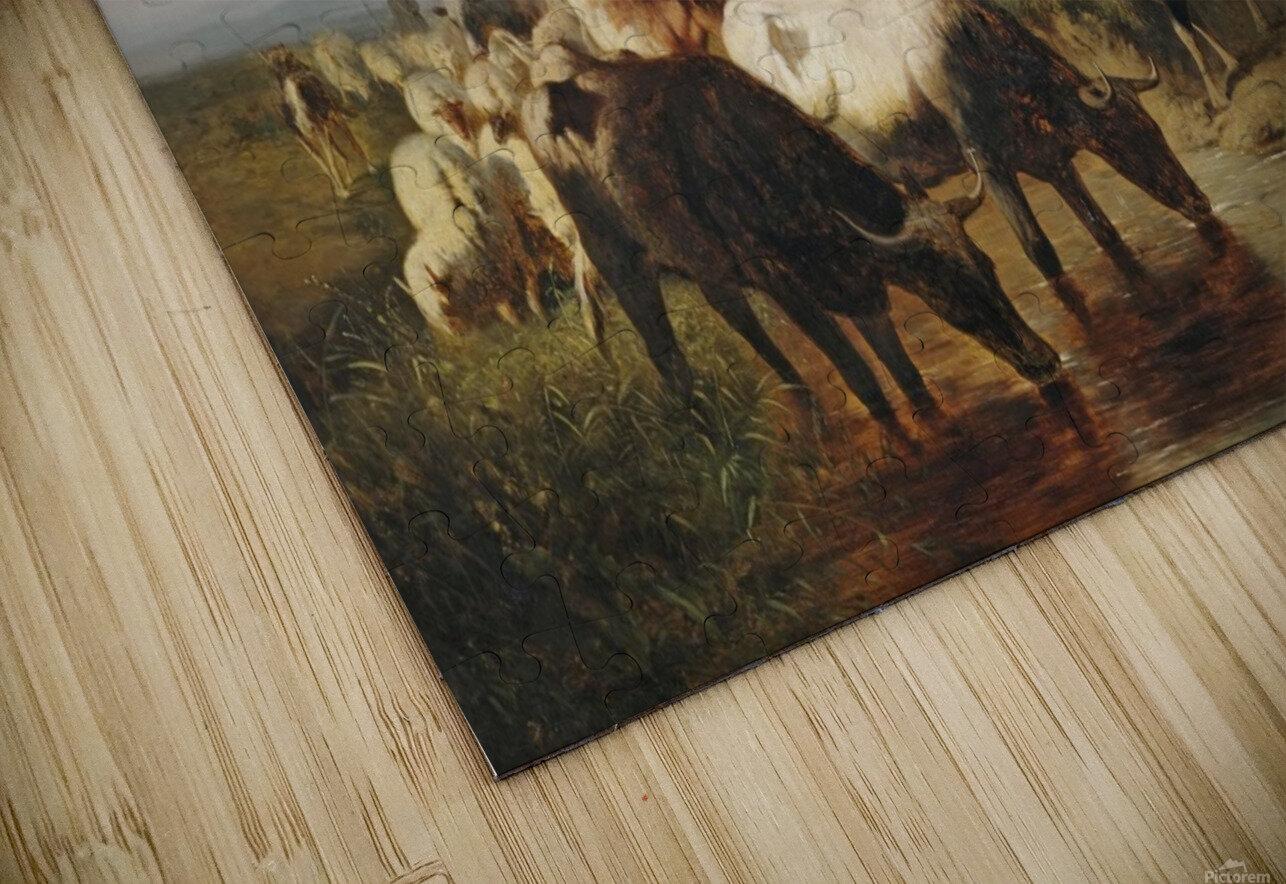 Herde mit eselreitendem Hirtenknaben HD Sublimation Metal print