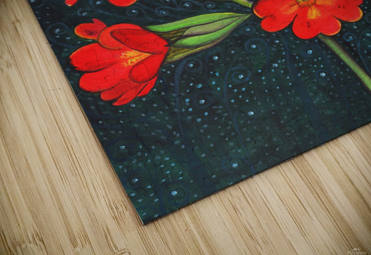 Red flowers shining in a magical starry night HD Sublimation Metal print