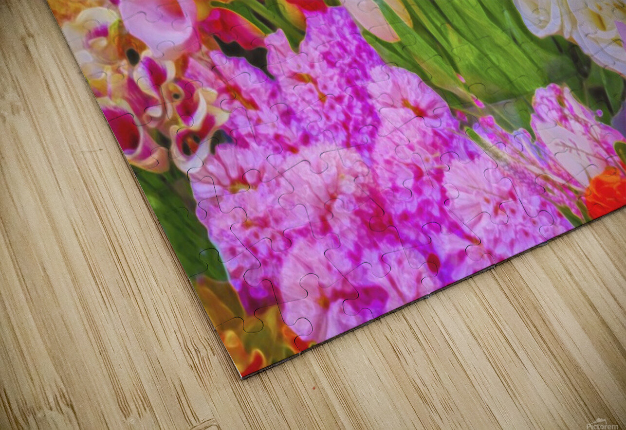 Abstract colorful flowers HD Sublimation Metal print