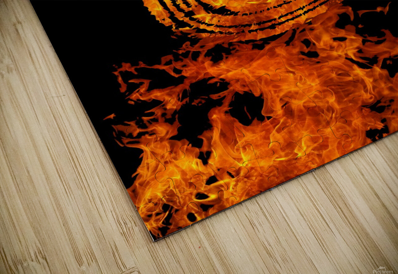 Burning on Fire Letter C HD Sublimation Metal print