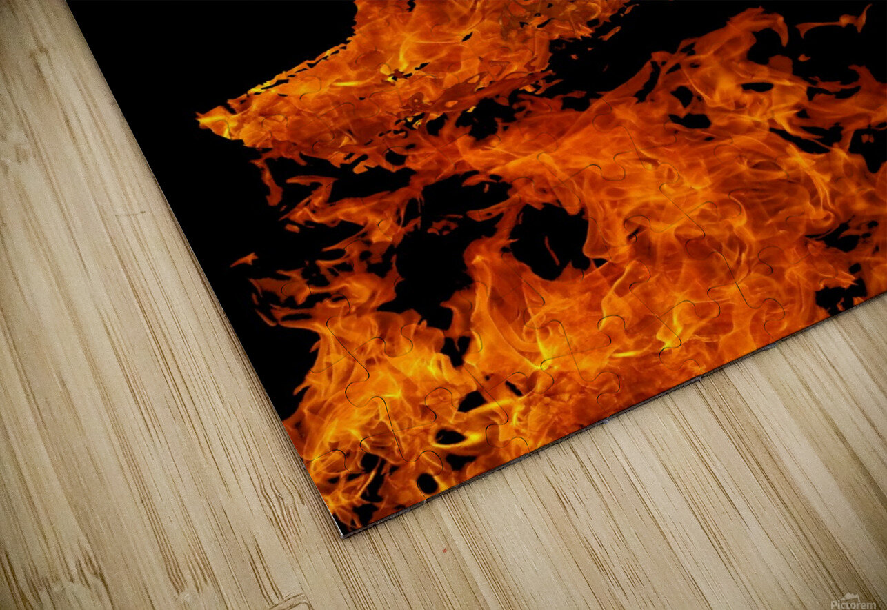Burning on Fire Letter D HD Sublimation Metal print