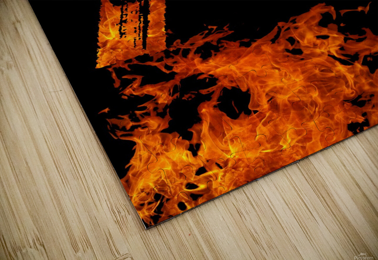 Burning on Fire Letter F HD Sublimation Metal print