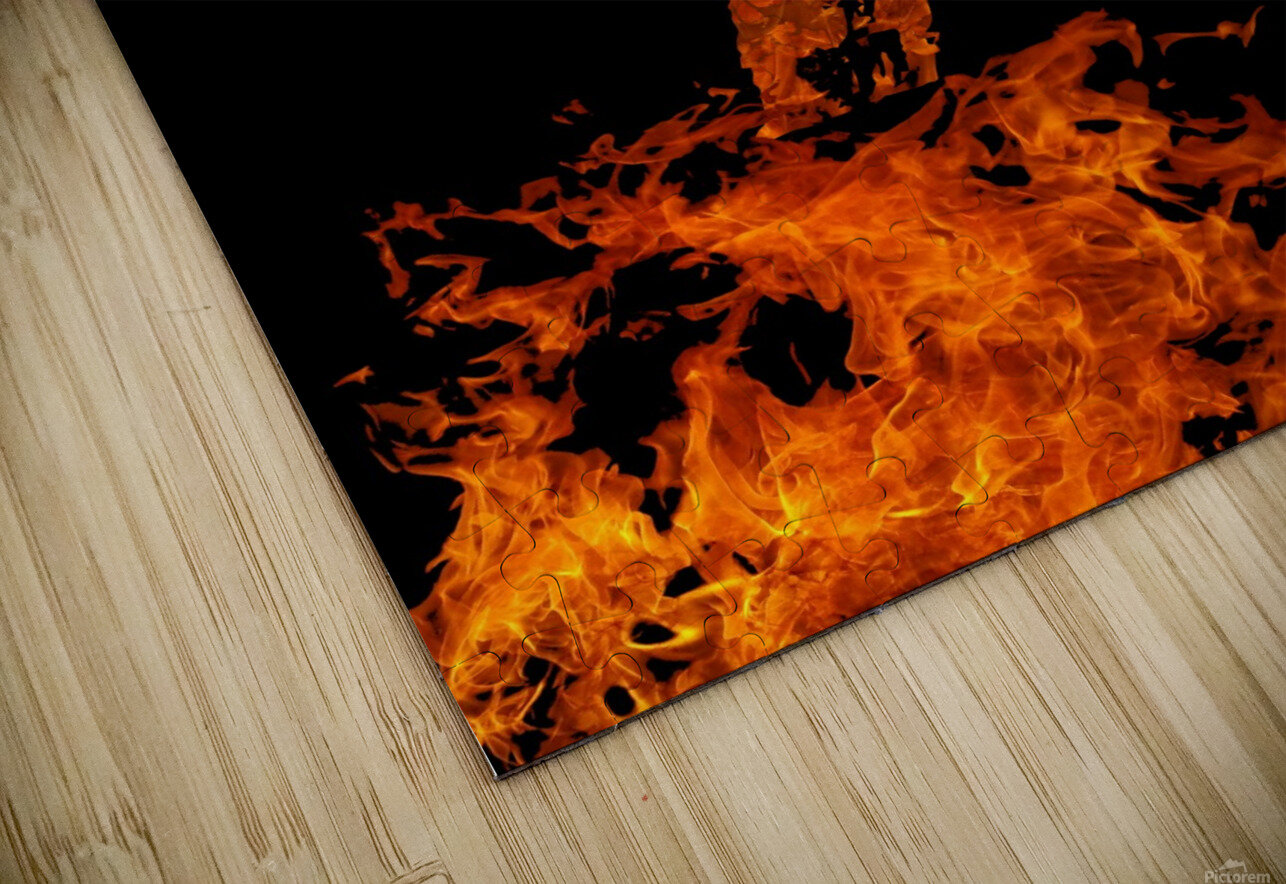 Burning on Fire Letter I HD Sublimation Metal print