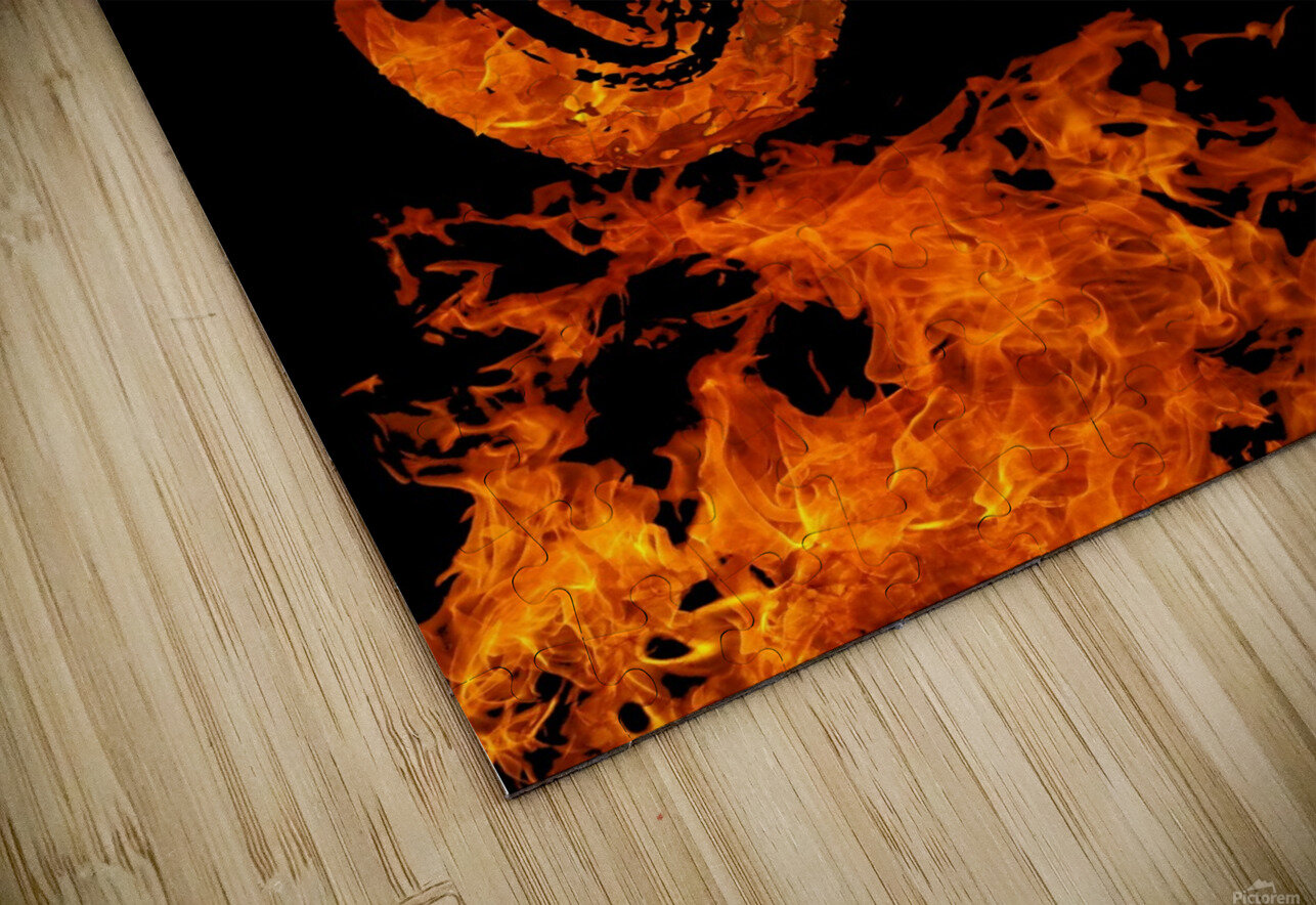Burning on Fire Letter J HD Sublimation Metal print