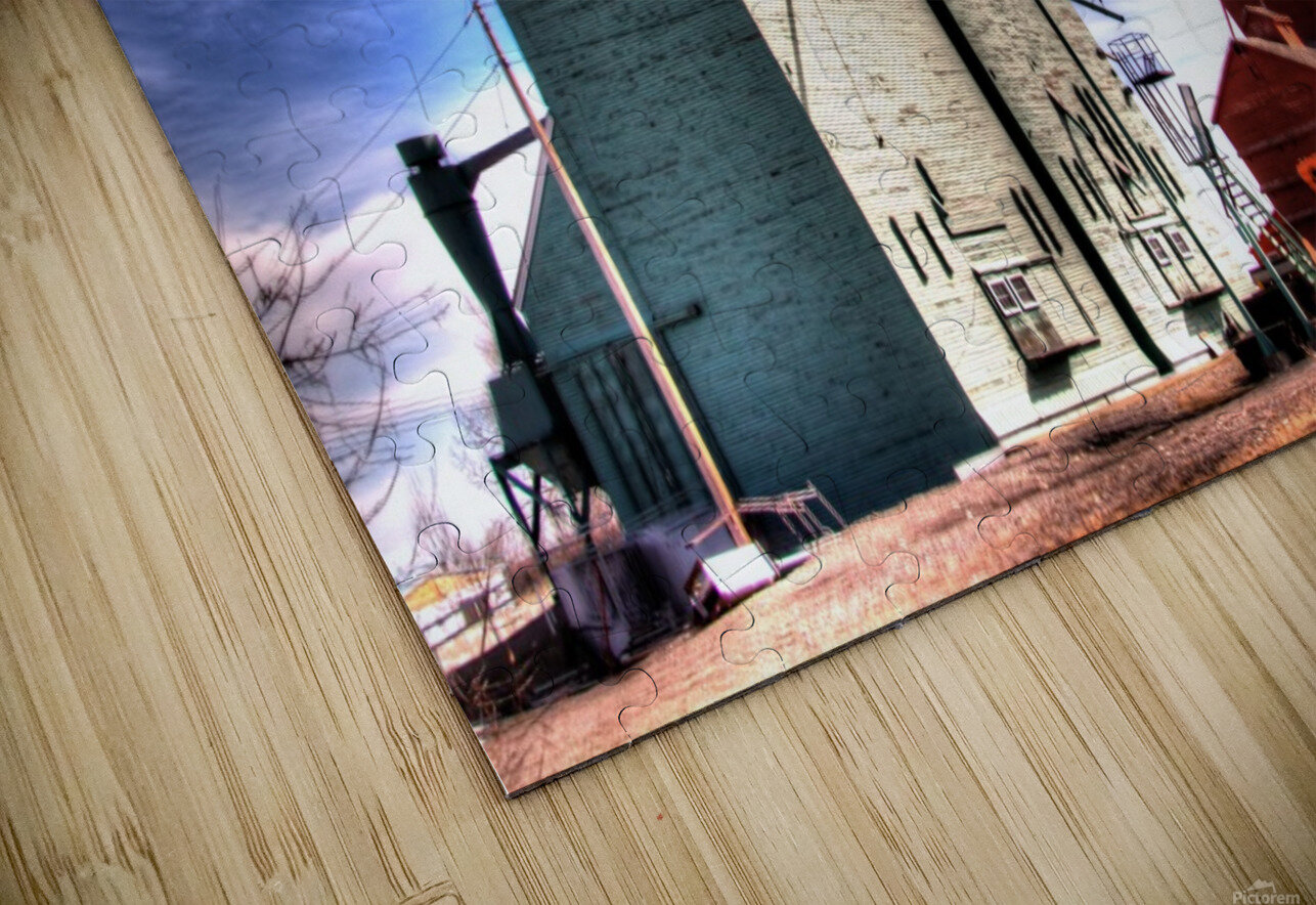 Grain Elevators in Nanton Alberta HD Sublimation Metal print