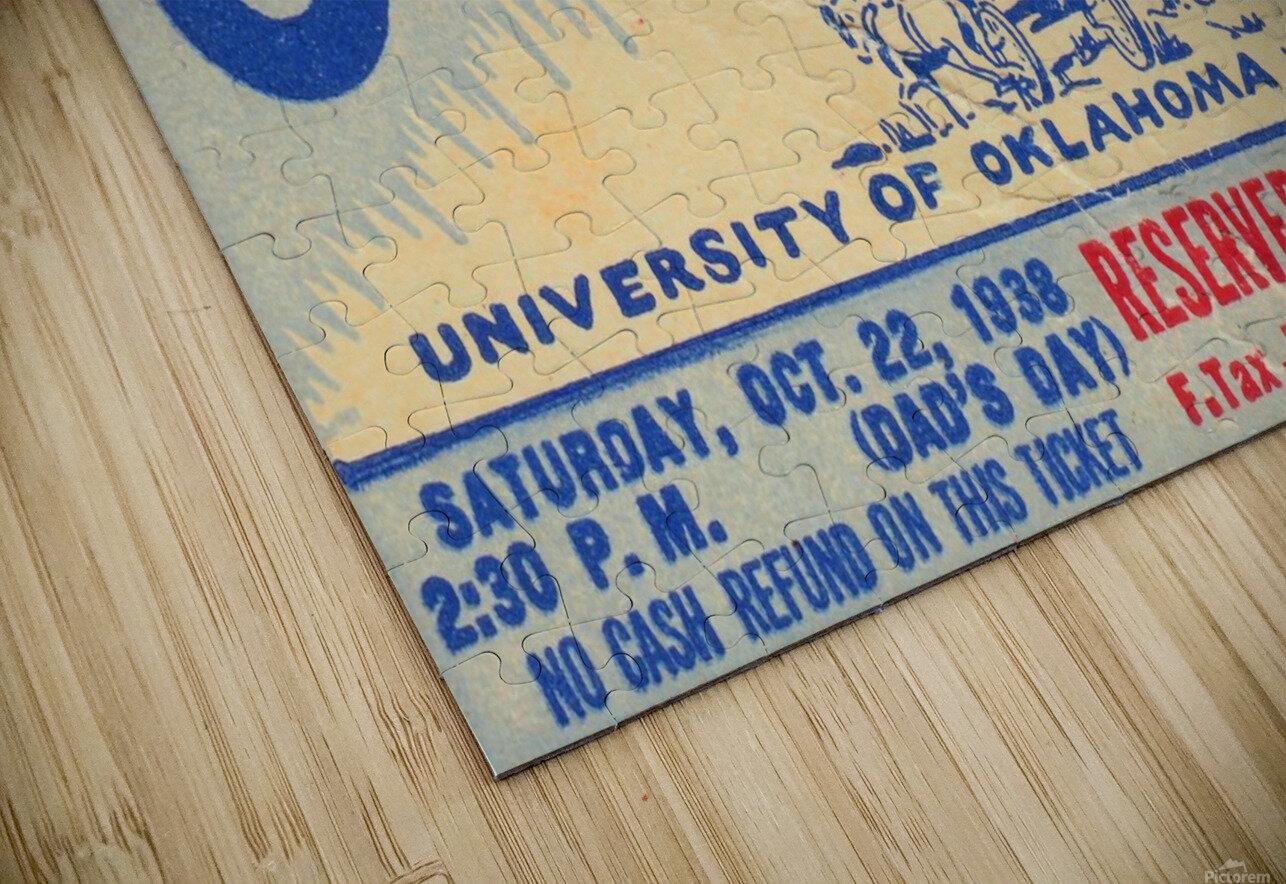 oklahoma football metal sign sooners ticket stub collection row 1 row one vintage sports art brand HD Sublimation Metal print