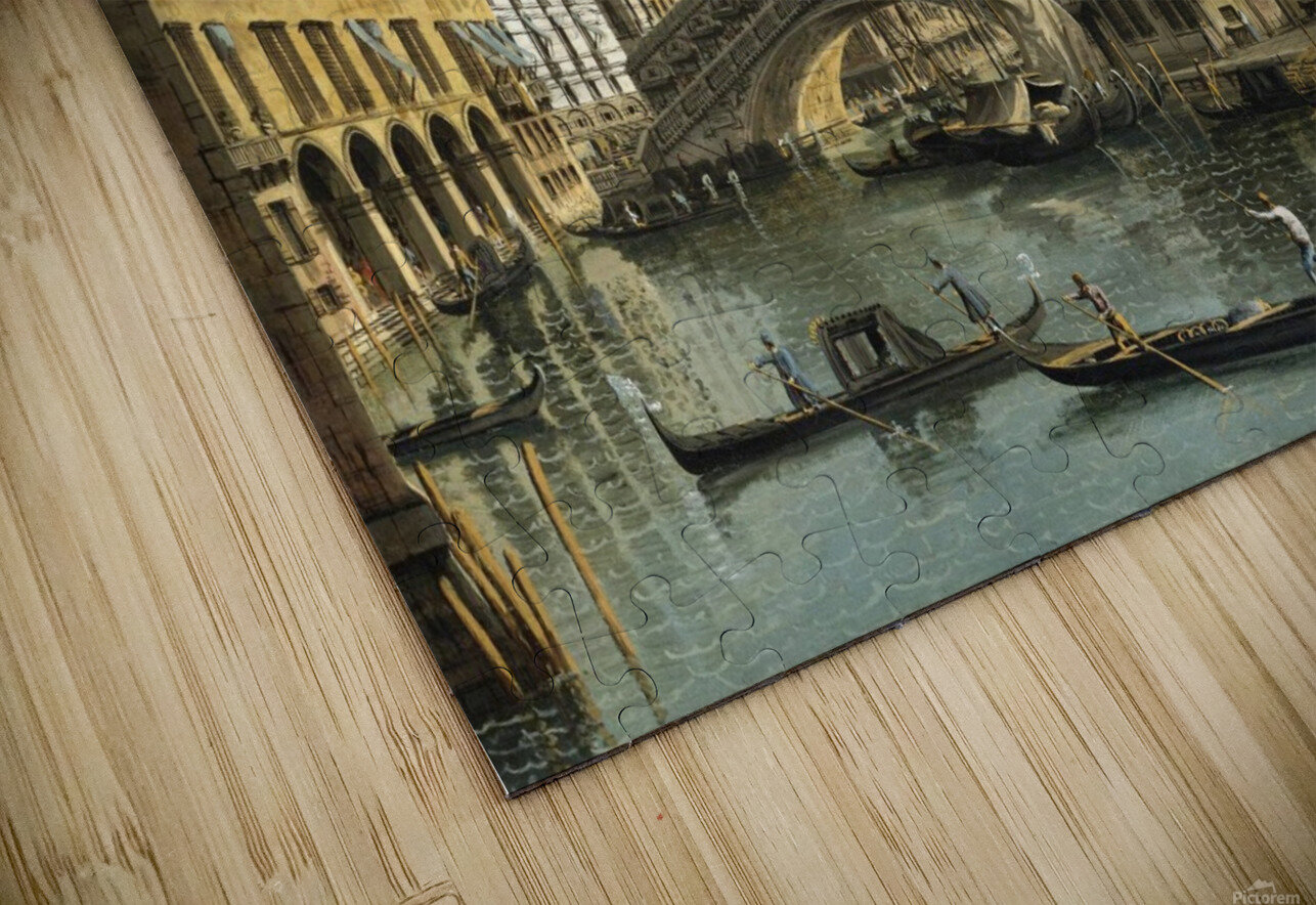 Venice. View of the Grand Canal with the Rialto Bridge, Seen from the North HD Sublimation Metal print