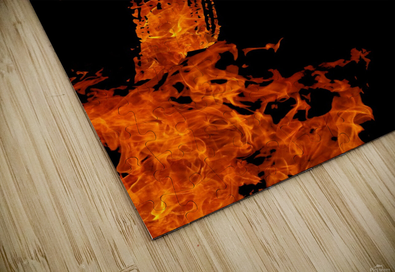 Burning on Fire Letter P HD Sublimation Metal print