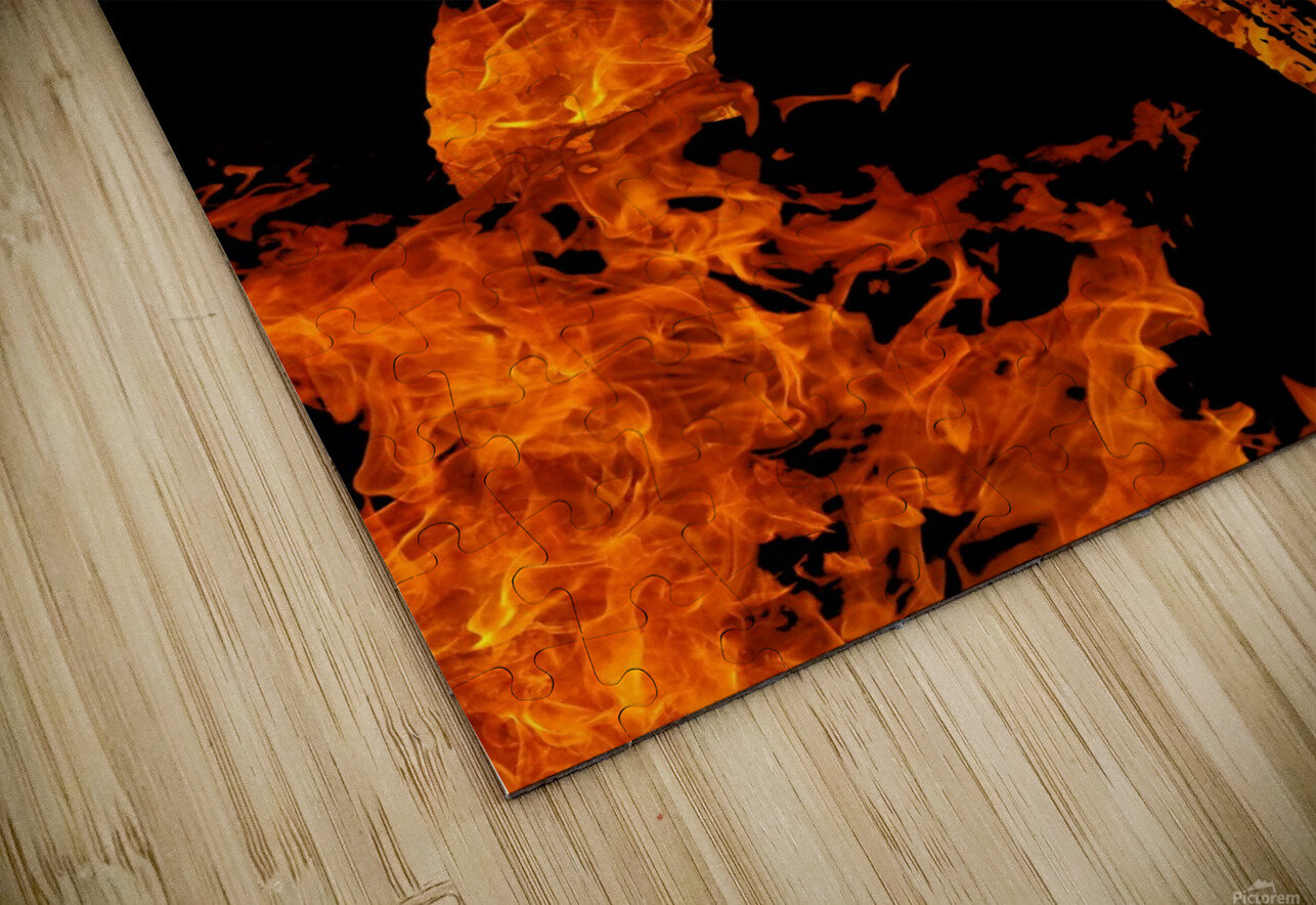Burning on Fire Letter R HD Sublimation Metal print