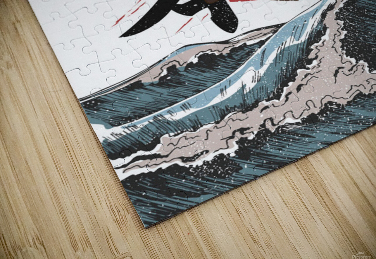 Koi fish fly waves HD Sublimation Metal print