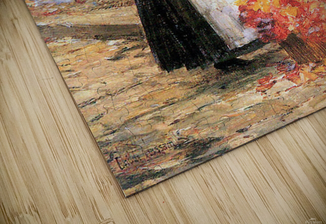 Woman sells flowers by Hassam HD Sublimation Metal print
