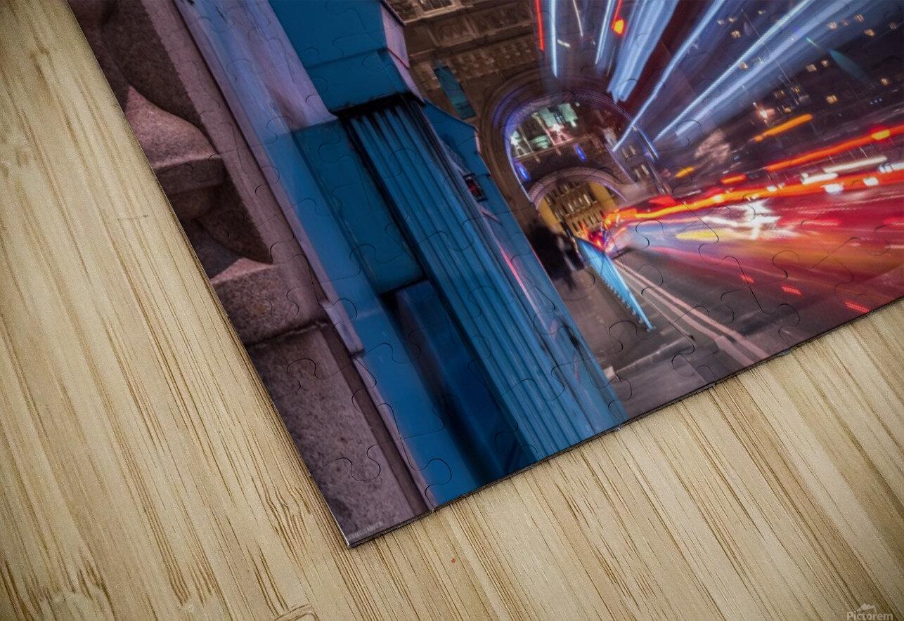 Light trails along Tower Bridge London HD Sublimation Metal print