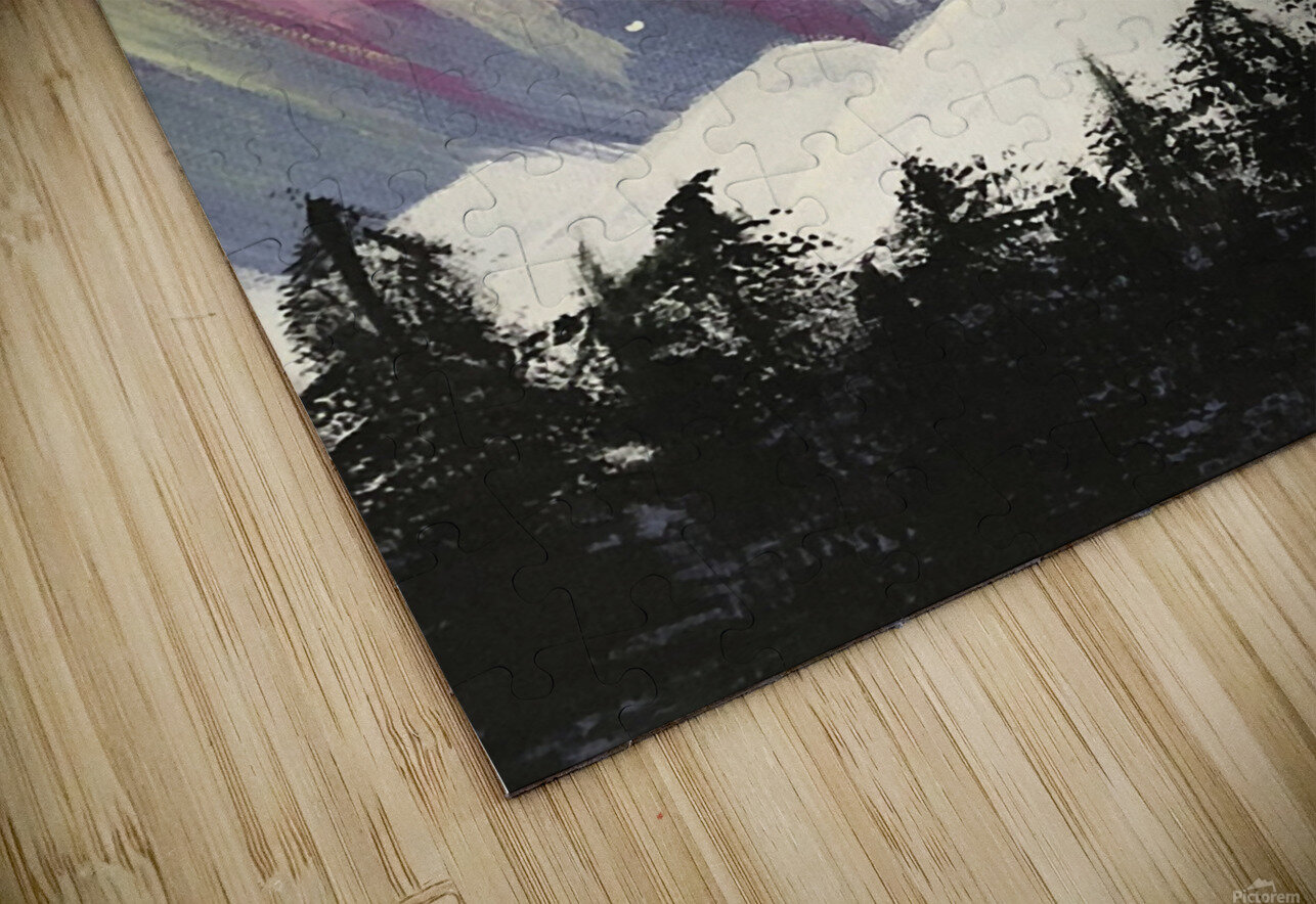 Aurora Borealis Above The Forest HD Sublimation Metal print