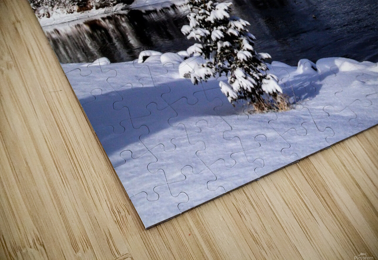 Snowy Bow River Canmore Alberta HD Sublimation Metal print