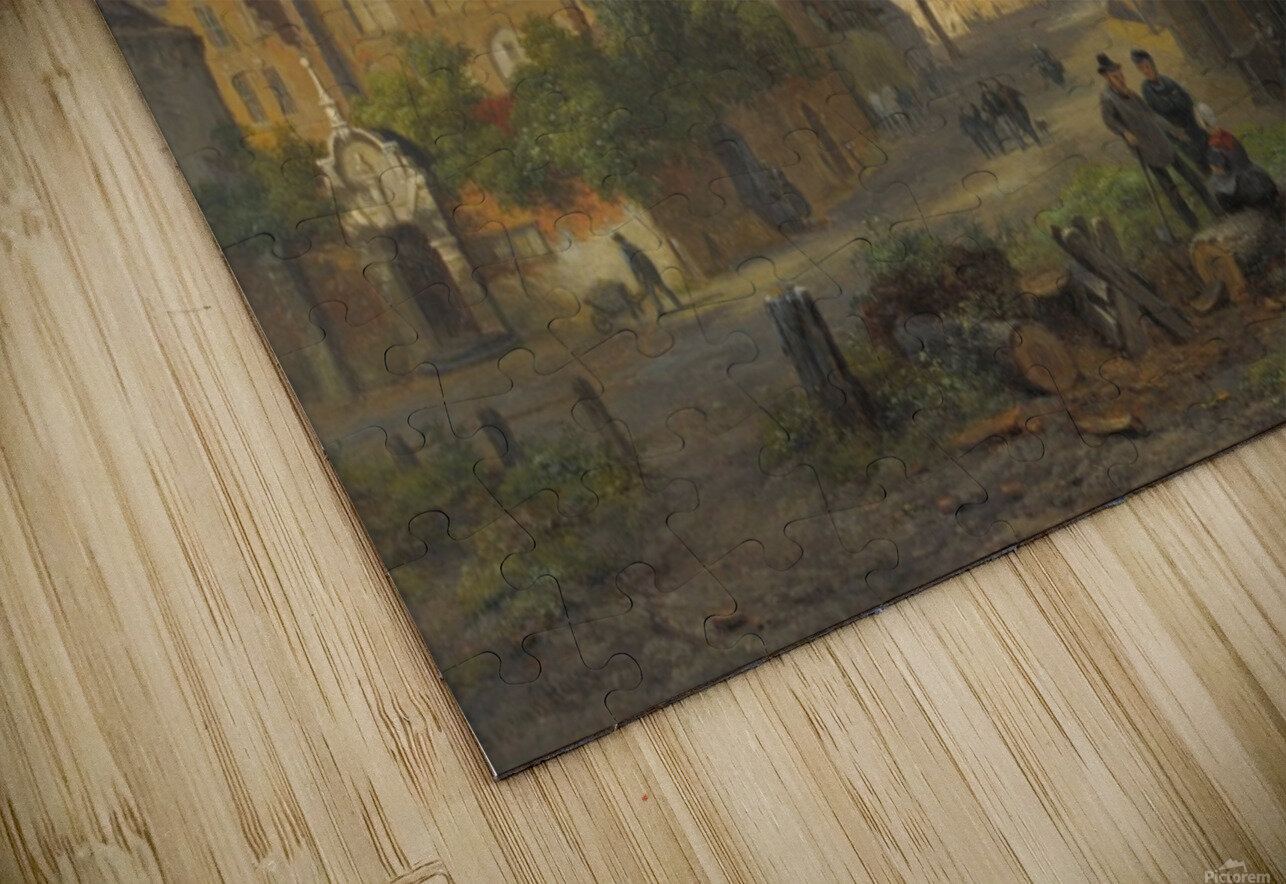 View of a town with figures in conversation HD Sublimation Metal print