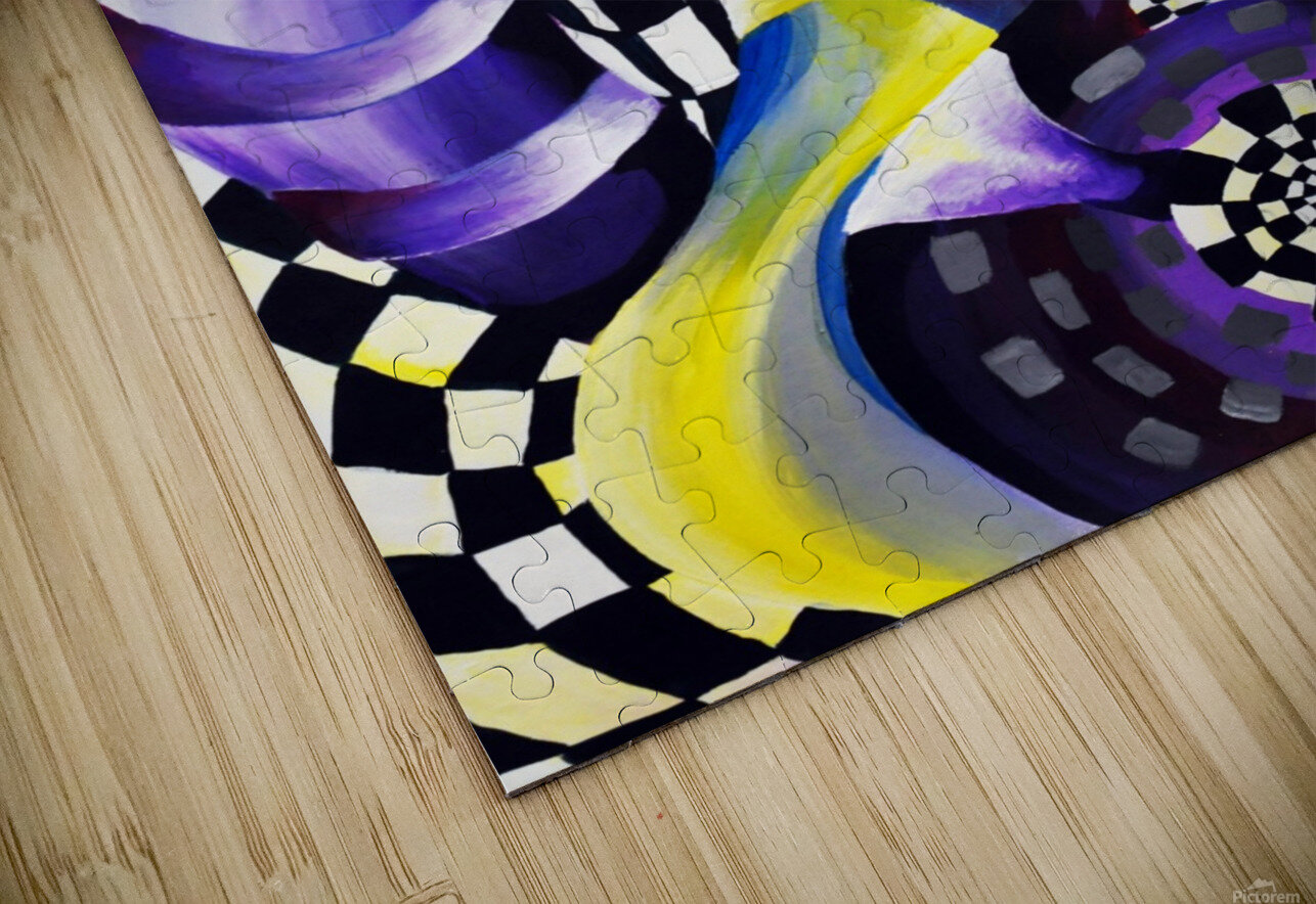 80s Geometric Abstract Watercolor HD Sublimation Metal print