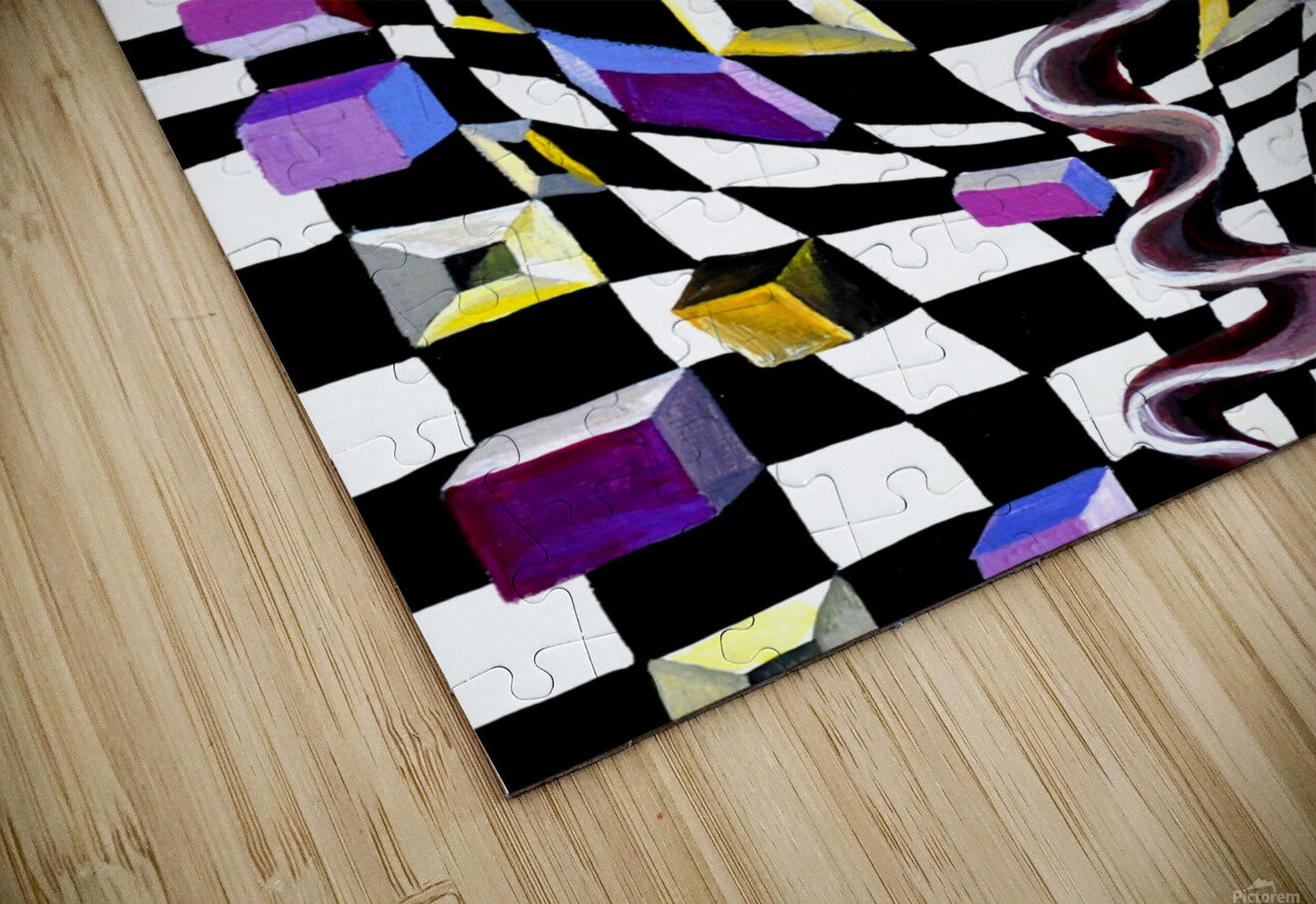 Watercolor Abstract Chess Pattern HD Sublimation Metal print
