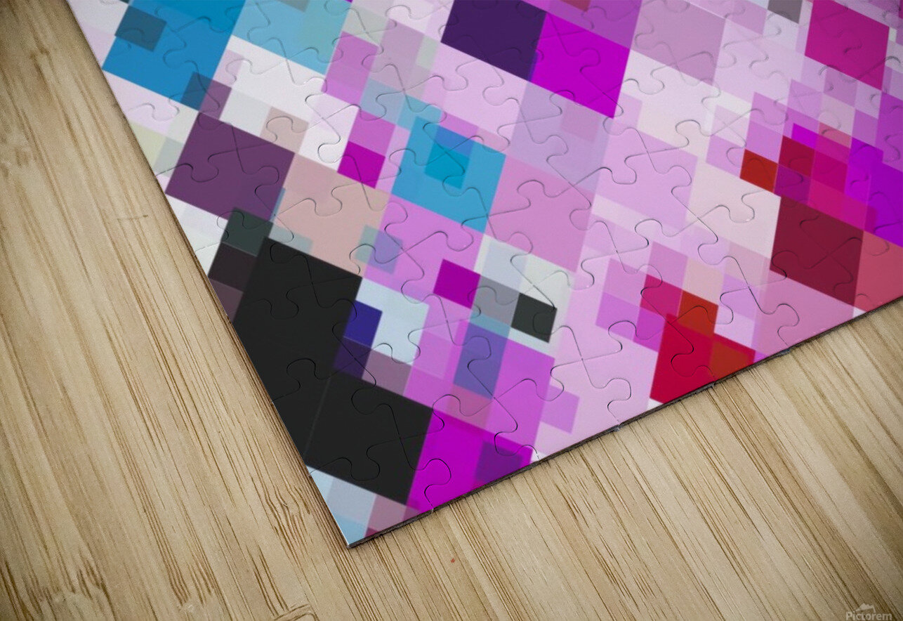geometric square pixel pattern abstract background in pink blue yellow HD Sublimation Metal print