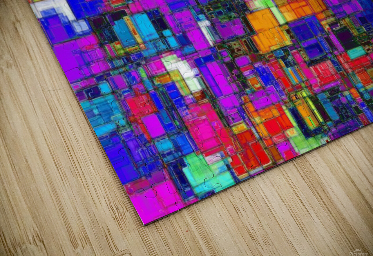 geometric square shape pattern abstract background in pink blue orange HD Sublimation Metal print
