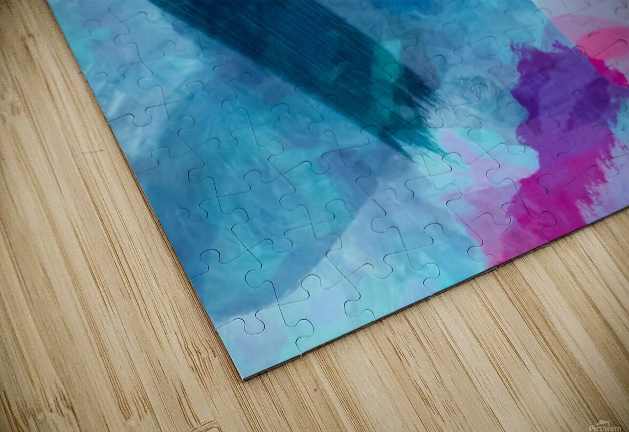 splash painting texture abstract background in blue pink HD Sublimation Metal print