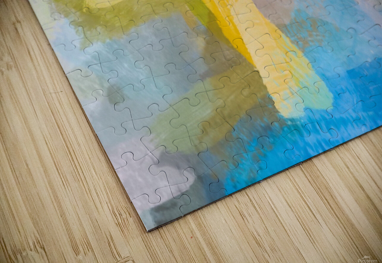 splash painting texture abstract background in yellow blue pink HD Sublimation Metal print