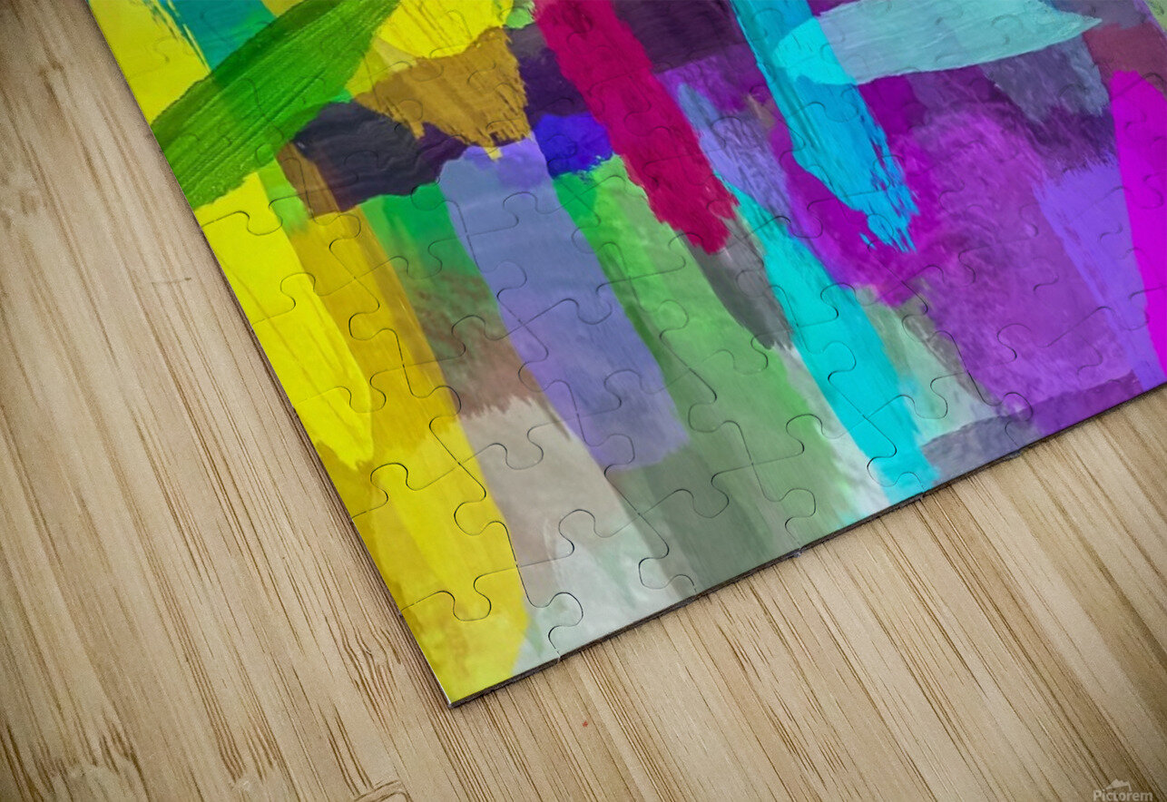 splash brush painting texture abstract background in green blue pink purple HD Sublimation Metal print