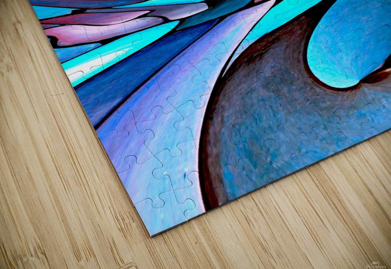 Twisted Splash of Blue Shapes  HD Sublimation Metal print