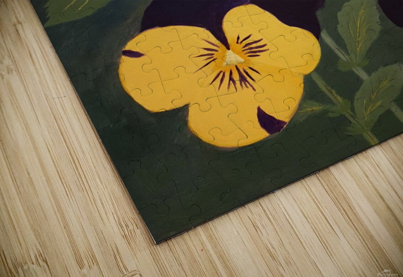 Yellow and purple pansies HD Sublimation Metal print
