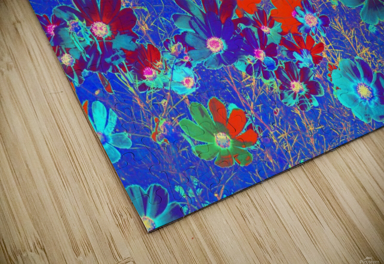 Cosmos Flowers Blue Red HD Sublimation Metal print