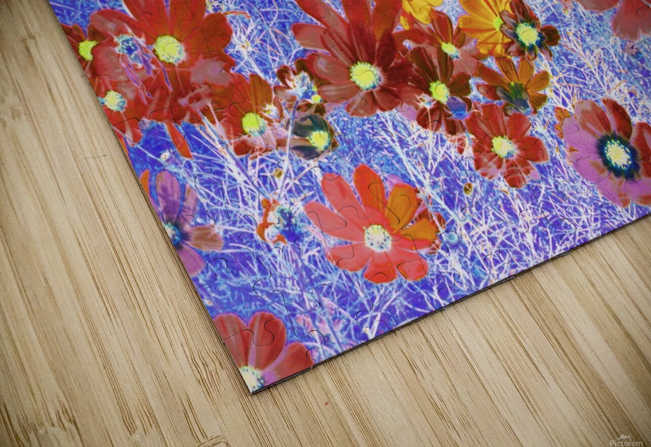 Cosmos Flowers Brown HD Sublimation Metal print