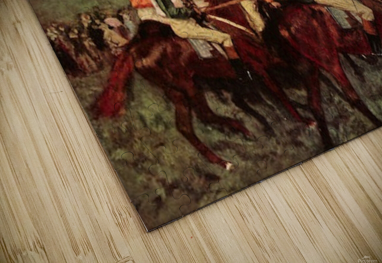 Men s riders before the start by Degas HD Sublimation Metal print
