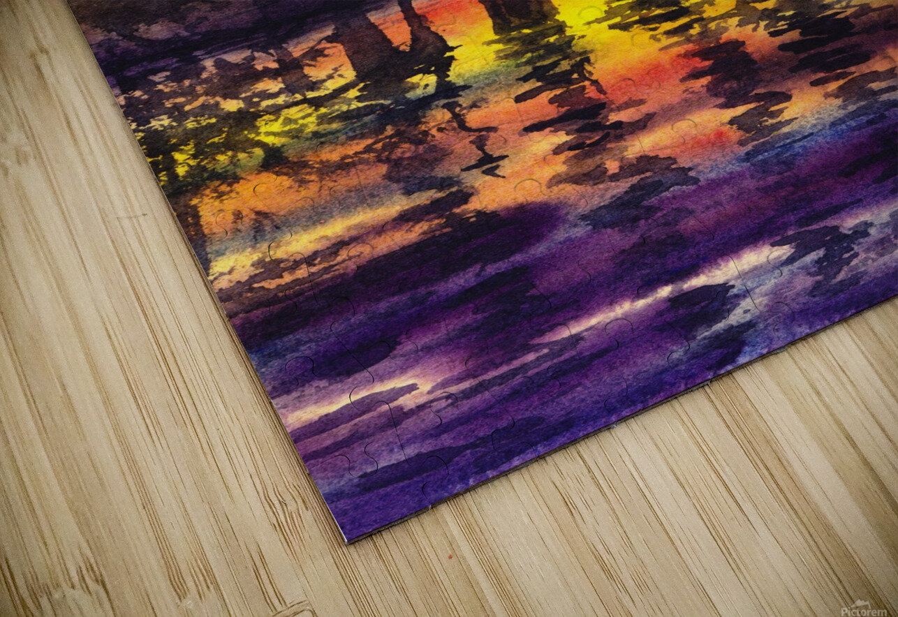 Bright Sunset Through The Trees HD Sublimation Metal print