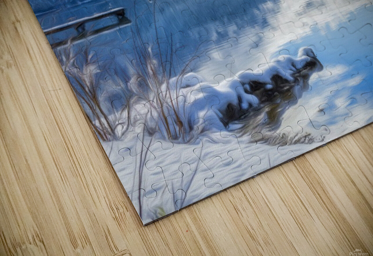 Snowy Day on the Lake HD Sublimation Metal print