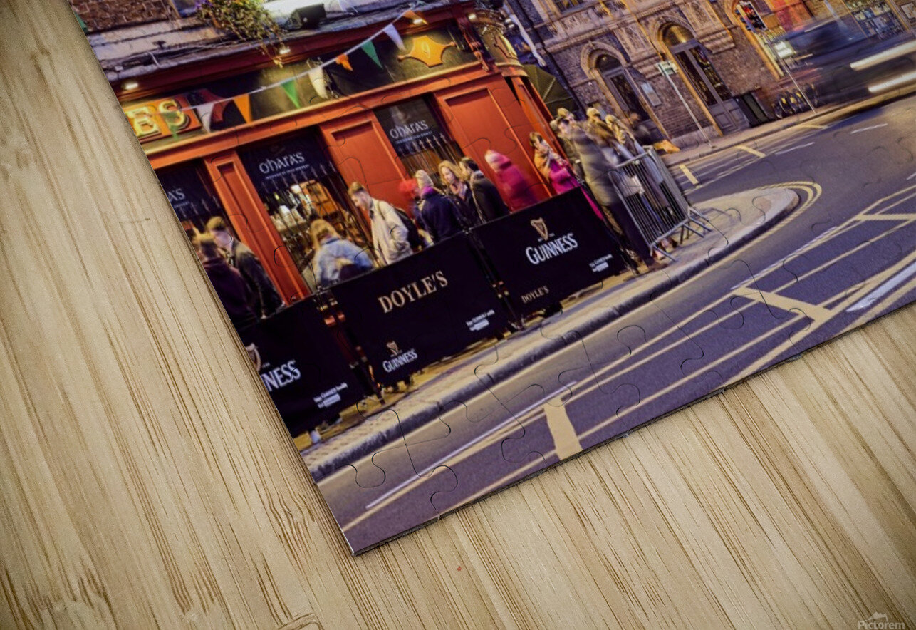 City street with people outside of pub at night Dublin Ireland HD Sublimation Metal print