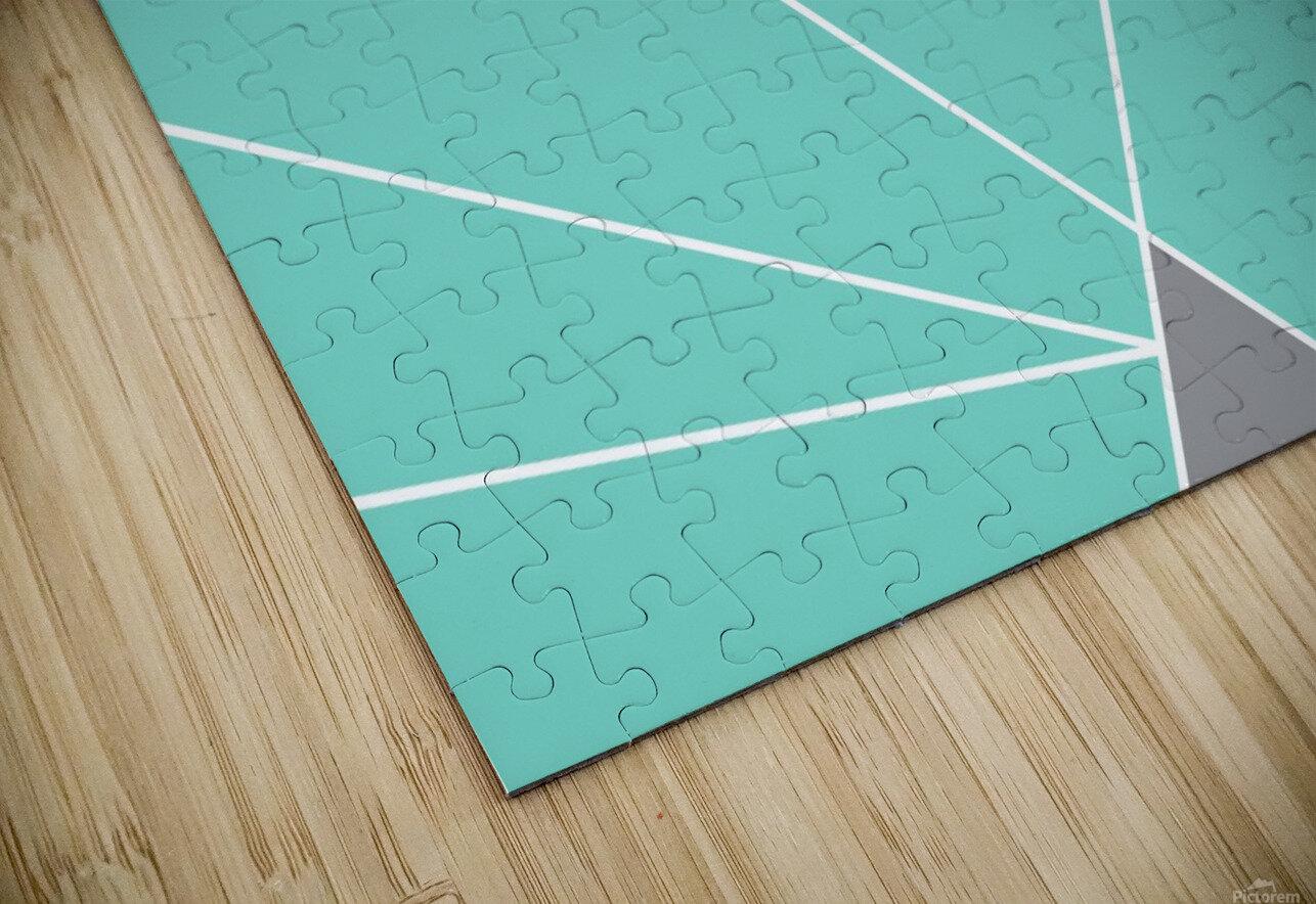 Gray Teal Triangles Geometric Art GAT101-3 HD Sublimation Metal print