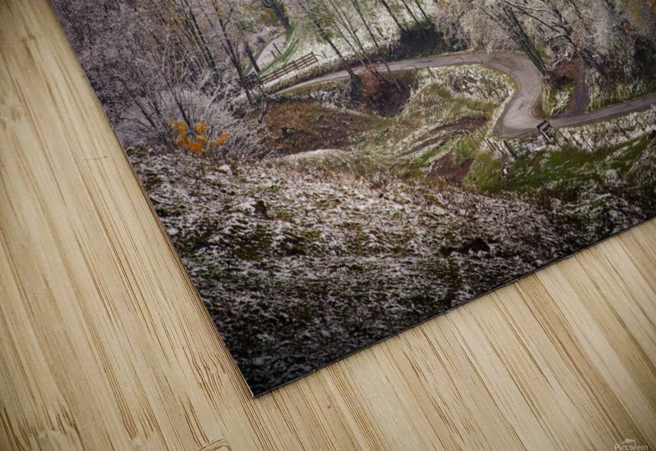Autumn snow on Back Hollow Road Tucker County West Virginia HD Sublimation Metal print