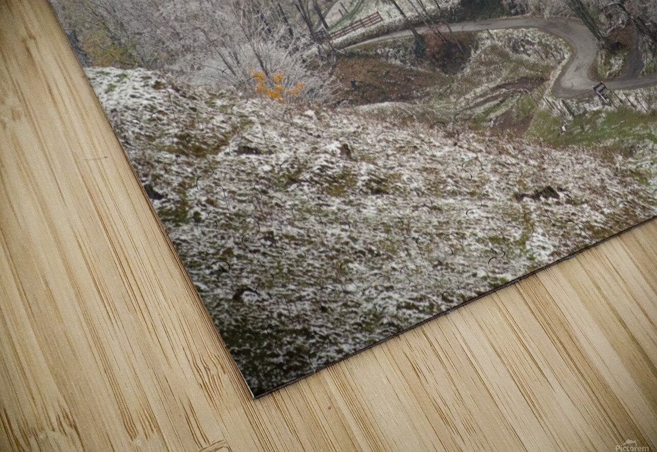 Back Hollow Road Tucker County WV autumn snow HD Sublimation Metal print