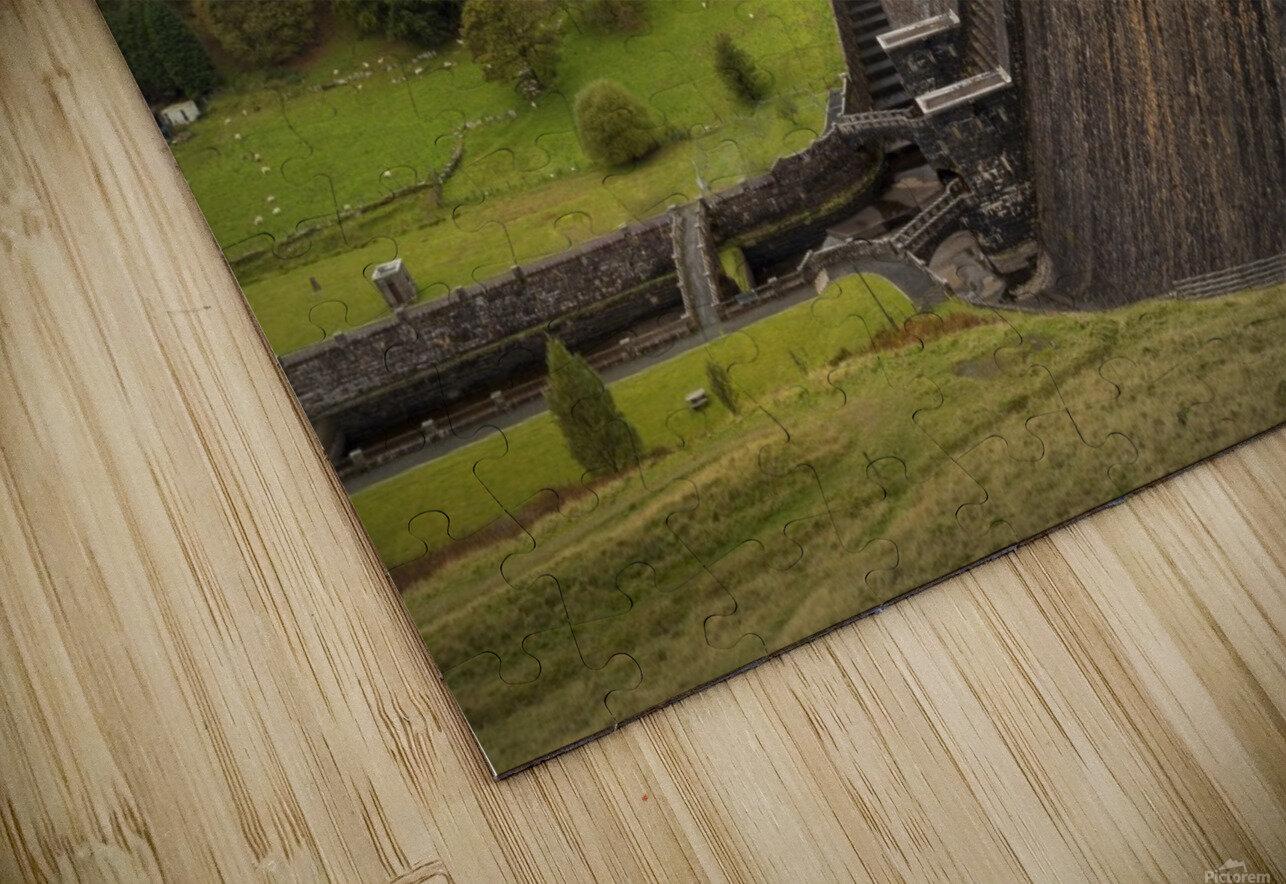 The Claerwen reservoir dam in Powys HD Sublimation Metal print