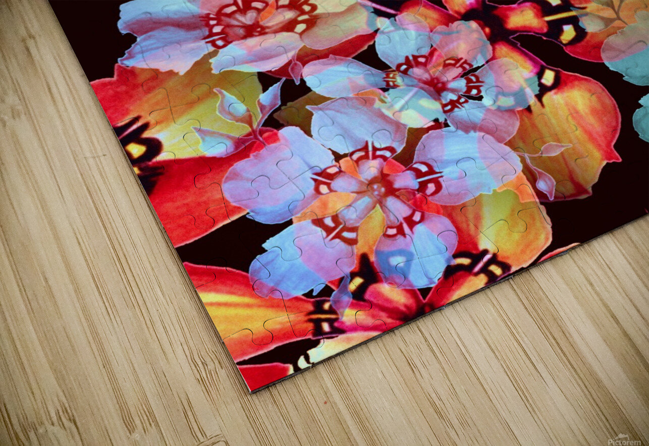 Harlequin Flowers in Watercolor HD Sublimation Metal print