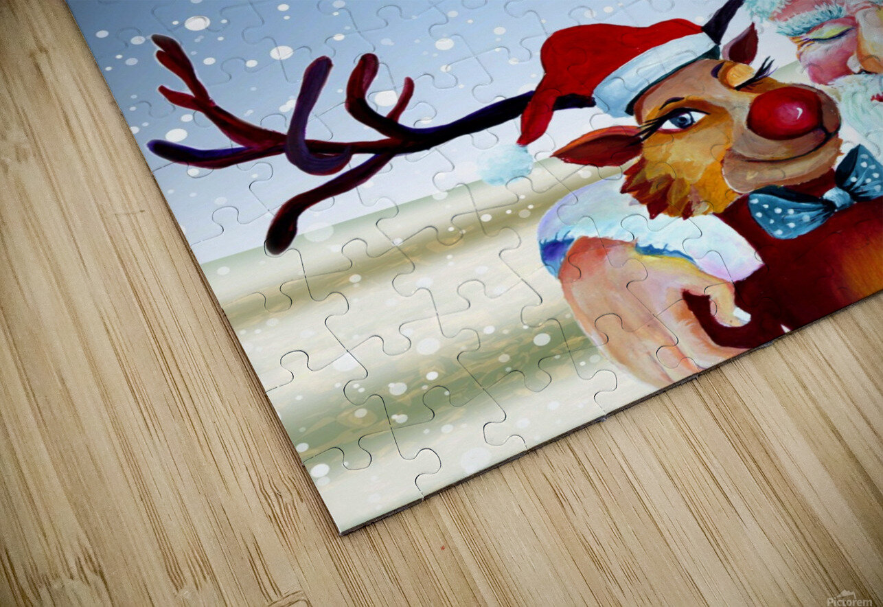 Santa Clause and Rudolph in Magical Winter night HD Sublimation Metal print